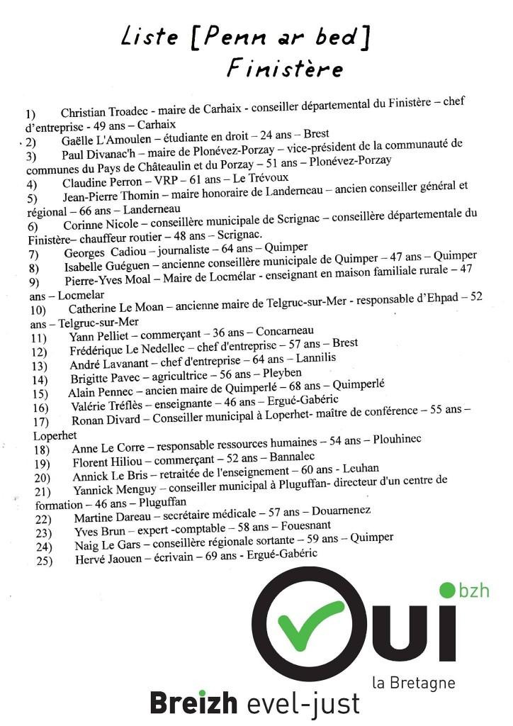 Troadec Liste 2015 Finistère